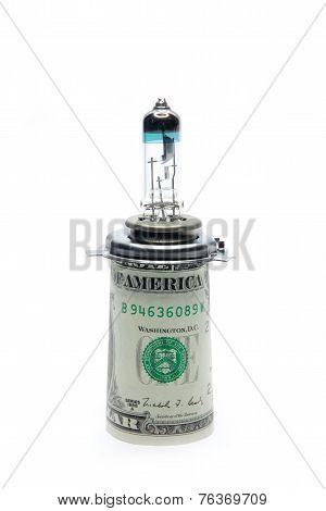 bulb car and dollars