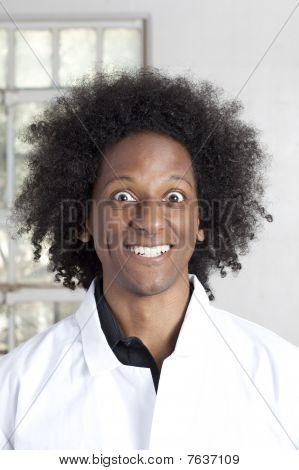 Young Man With An Afro Making Faces