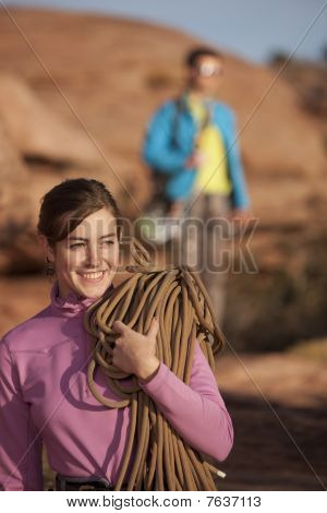 Attractive Woman With Climbing Gear