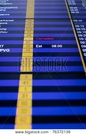 Flight Information Board In Airport.