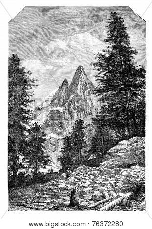 The Needle Of The Dru And The Aiguille Verte, In Front Of Montanvert .- Drawing A. Bar, After A Phot