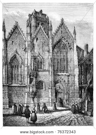 Church Of Our Lady, A Glass (ille-et-vilaine). - Drawing Catenacci, Vintage Engraving.