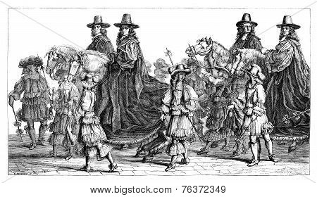Museum Of Dresden. - Walk Magistrates In Paris, In The Seventeenth Century Drawing By Francois Chauv