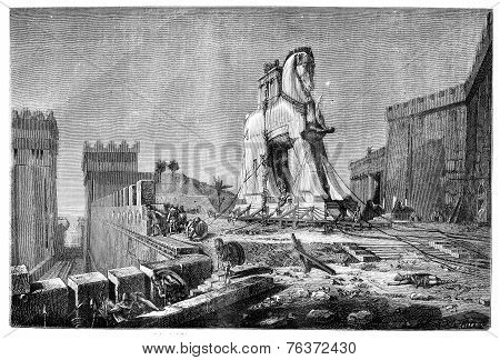 Salon Of 1874, Painting. - The Trojan Horse, By Motte, Vintage Engraving.
