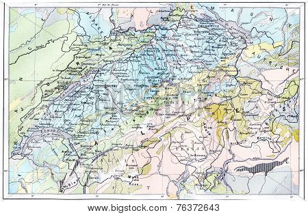 Topographical Map Of The Alps, Vintage Engraving