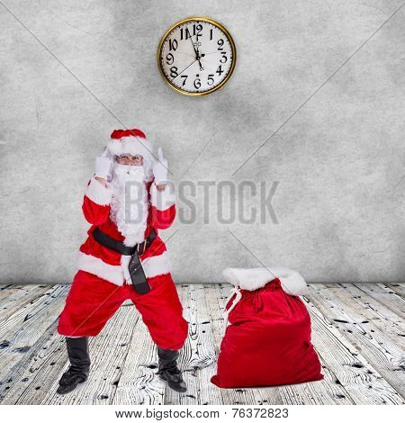 Santa Claus with upraise middlefingers, concept of Christmas hatred.