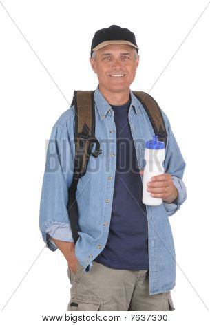 Middle Aged Man Ready For A Hike