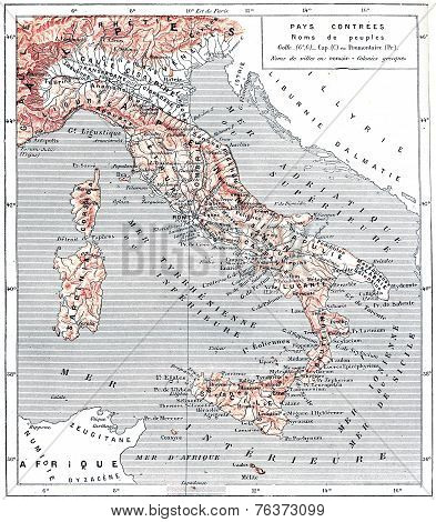 Map Of Ancient Italy, Vintage Engraving.
