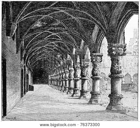 Gallery Of The Courthouse In Liege, Belgium, Vintage Engraving