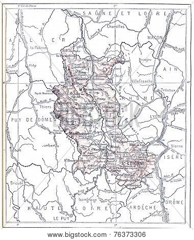 Topographical Map Of The Administrative Department Of Loire In Rhone-alpes, France, Vintage Engravin