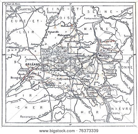 Topographical Map Of Department Of Loiret In Centre, France, Vintage Engraving