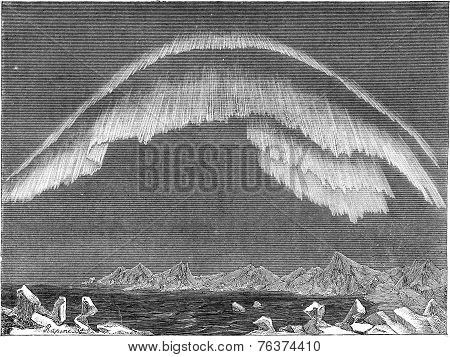 Appearance Of The Aurora Borealis In The North In Evening, Bossekop (finnmark), Vintage Engraving.