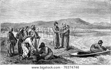 Vambery By Khandjian Chief Turkoman Gumustepe Was On The Edge Of The Caspian Sea, Vintage Engraving.