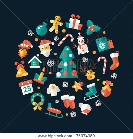 Set of Christmas and Happy New Year flat design icons