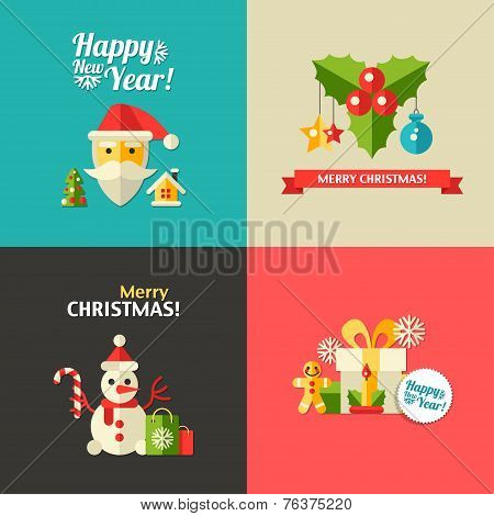 Illustration of Christmas and Happy New Year flat design postcar