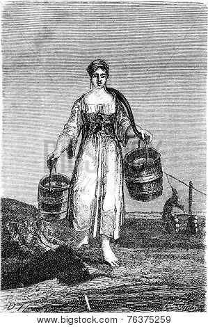 A Young Girl Carrying Water In Nennal, Vintage Engraving.