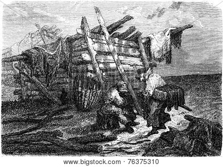 A Peasant Hut Near Iggafer, Vintage Engraving.