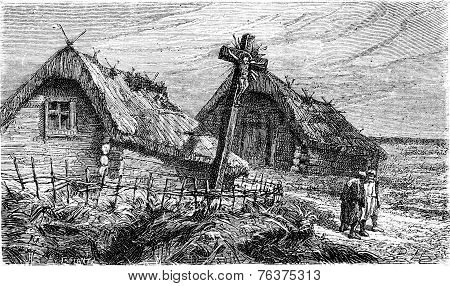 Cross At The Entrance Of A Lithuanian Village, Vintage Engraving.