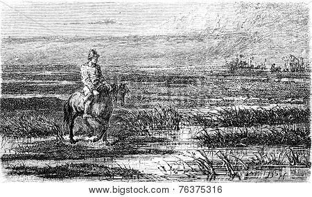 Russian Voyage (livonia), Vintage Engraving.