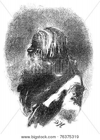 Old Peasant Estonian, Vintage Engraving.