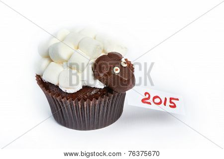 Cupcake Lamb As Simbol 2015 New Years Isolated