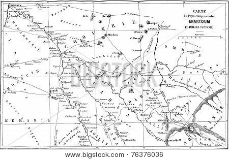 Map Of The Country Between Khartoum And Tchelga, Vintage Engraving.