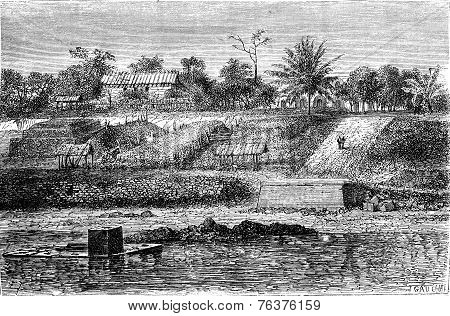 View Counter Of Gabon In 1861: Park Coal, Vintage Engraving.