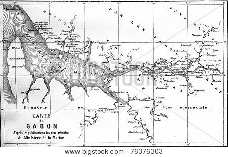 Map Of Gabon, Vintage Engraving.