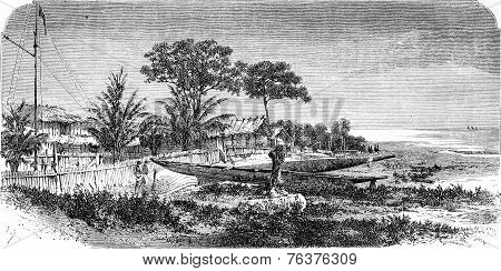 English Glass Factory, Vintage Engraving.