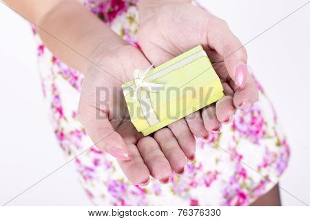 Hands Holding Gift / Present In Isolated On White Background. Closeup Of Female Hands Giving The Gif