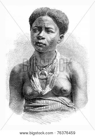 Akera, Girl From Gabon, Vintage Engraving.