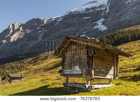 Two Cabins In Switzerland Alps With Eiger