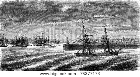 The Port Of Cardiff, Vintage Engraving.