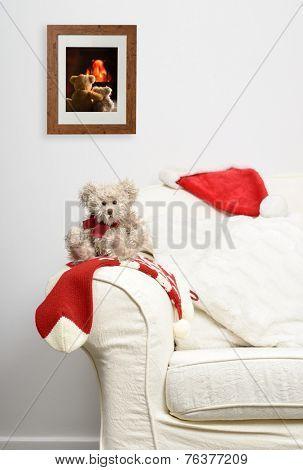 Little teddy bear toy waiting for Christmas