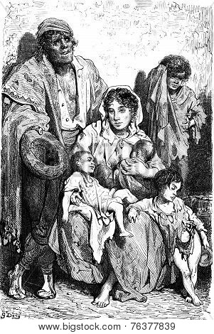 A Family Of Beggars In Jaen, Vintage Engraving.