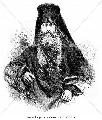 Feofan, Archimandrite Of The Solovetsky Monastery, Vintage Engraving
