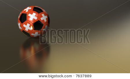 Glossy Switzerland Soccer Ball On Golden Metal Surface