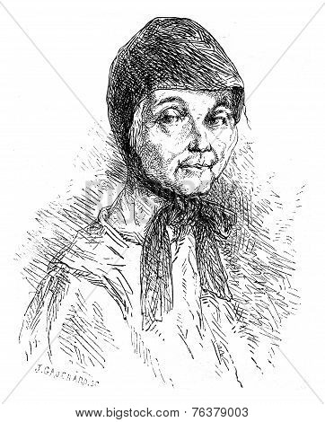 Sister Mary Recluse Solovetsky. Vintage Engraving.