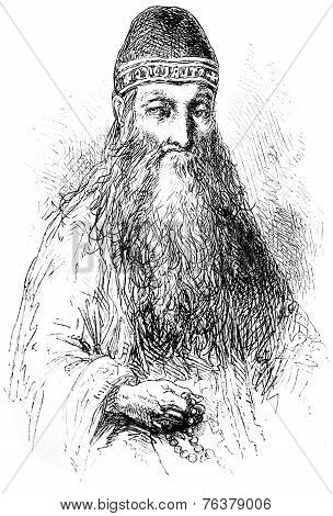 A Recluse Solovetsky, Vintage Engraving.