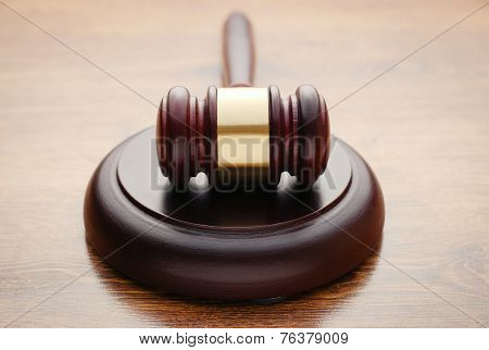 Judges Wooden Gavel In A Courtroom