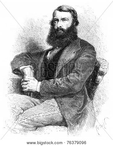 Mr. Samarin, Editor Of The Moscow Gazette, Vintage Engraving.