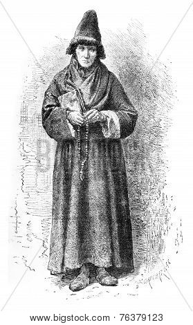 An Old Believer, Vintage Engraving