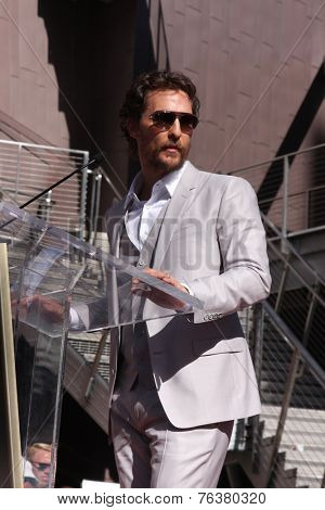 LOS ANGELES - NOV 17:  Matthew McConaughey at the Matthew McConaughey Hollywood Walk of Fame Star Ceremony at the Hollywood & Highland on November 17, 2014 in Los Angeles, CA