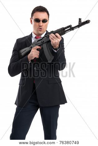 Bodyguard With Automatic Rifle
