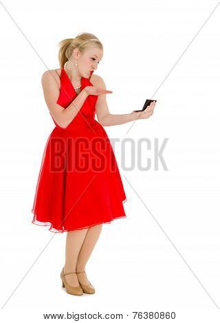 Conceited Girl In Red With Mirror
