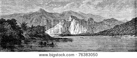 View Of The River Before Reaching The Nam Hou, Vintage Engraving.
