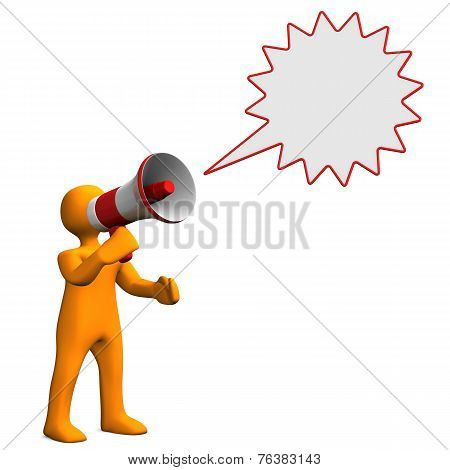 Manikin Bullhorn Speech Bubble