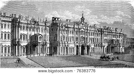 The Winter Palace In Saint Petersburg, Vintage Engraving.
