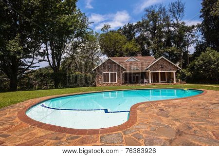 Cottage Home Pool Landscape