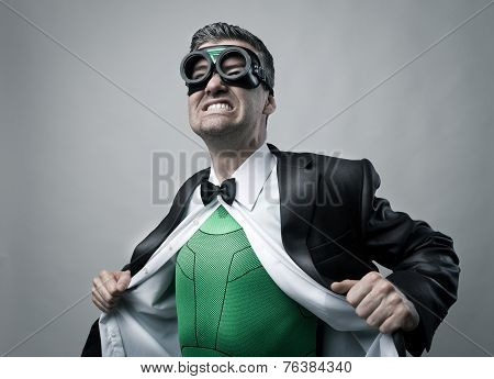 Superhero Taking Off Shirt And Jacket